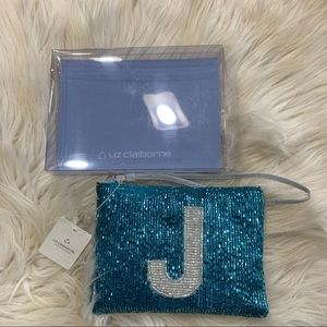 """J"" beaded coin purse wallet cosmetic bag"